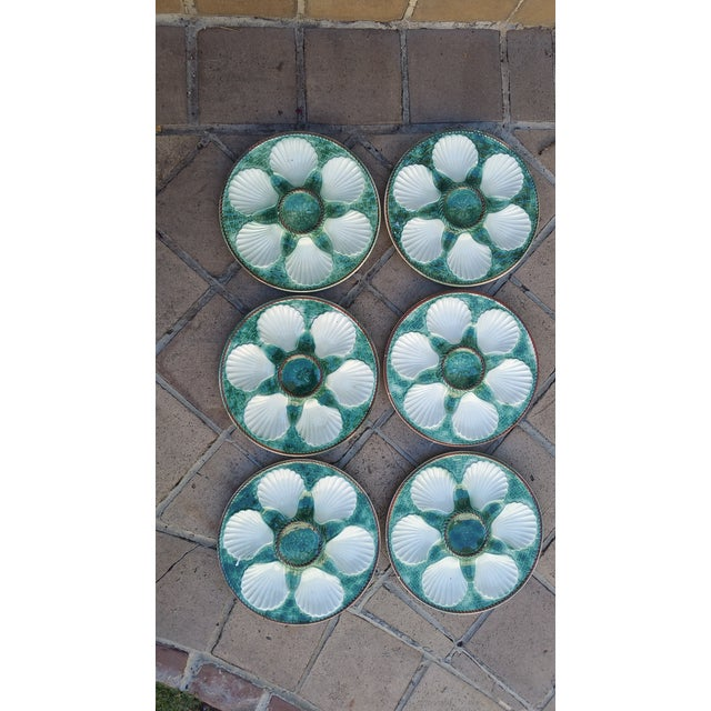 A set of vintage majolica oyster plates. Made in France. In excellent condition with no damage at all. Made by Longchamps,...