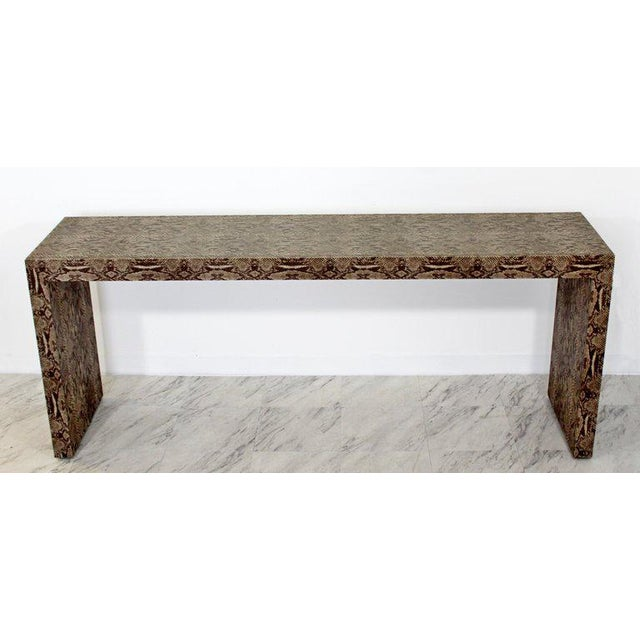 Mid-Century Modern Mid-Century Modern Snakeskin Parsons Console Table 1970s For Sale - Image 3 of 9