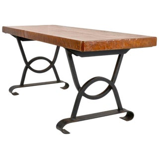 Oak and Iron Bench or Low Table, France, circa 1960s For Sale