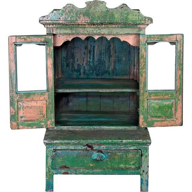 Shabby Chic Pink & Green Bygone Boudoir Cabinet For Sale - Image 3 of 4
