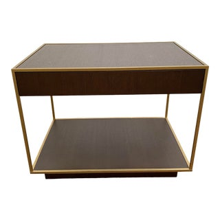 Bolier for Decca Home Transitional Smoked Oak Veneer Lamp Table For Sale