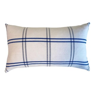 """Forsyth Schumacher Indigo Plaid Pillow, 21"""" For Sale"""