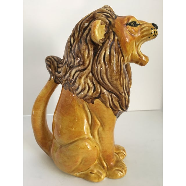 Hollywood Regency Vintage Italian Hand Painted Roaring Lion Pitcher For Sale - Image 3 of 11