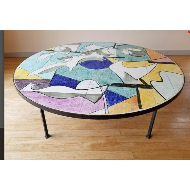 Coastal Mid 20th Century Ceramic Tile Coffee Table For Sale - Image 3 of 9