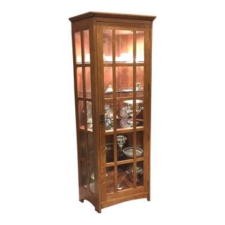 Mission Stickley Oak Lighted Corner Cabinet For Sale