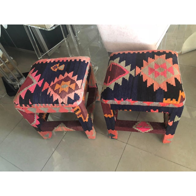 Blue Vintage Boho Kilim Rug Upholstered Benches Stools Ottomans -A Pair For Sale - Image 8 of 13