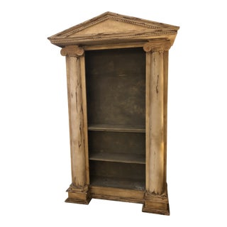 Monumental Greek Revival Style Carved Wood Antiqued Ivory Open Bookcase For Sale