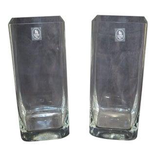 Castilian Square Glass Vases- A Pair For Sale