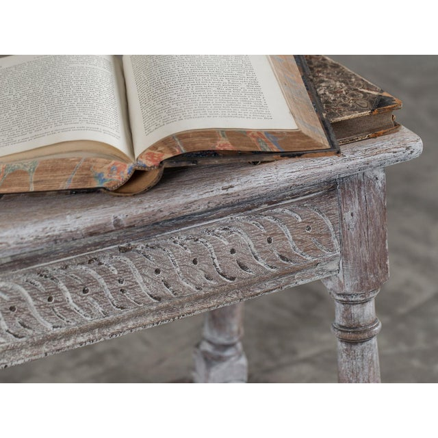 Late 19th Century Antique English Limed Oak Joint Stool circa 1890 For Sale - Image 5 of 11
