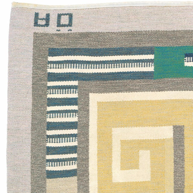 FJ Hakimian Mid 20th Century Swedish Flat Weave Carpet by Agda Osterberg Rug- 8′11″ × 12′1″ For Sale - Image 4 of 6