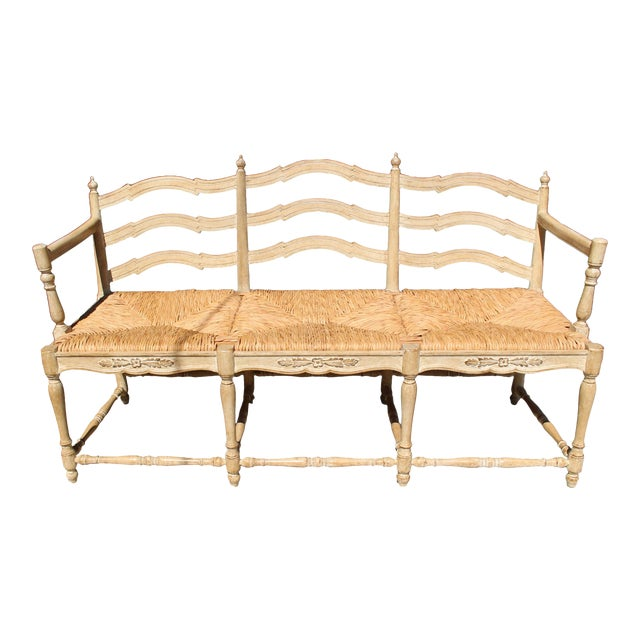 """Hand Made Rush Three-Seater Provençal """"Radassier"""" Bench, France 1940s For Sale"""
