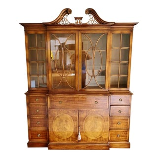 Antique English Flamed Mahogany & Satinwood Inlaid Breakfront China Cabinet For Sale