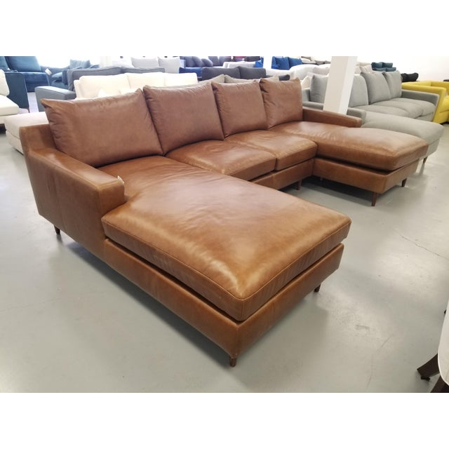 Brown Brown Leather U-Shaped Sectional Sofa For Sale - Image 8 of 8