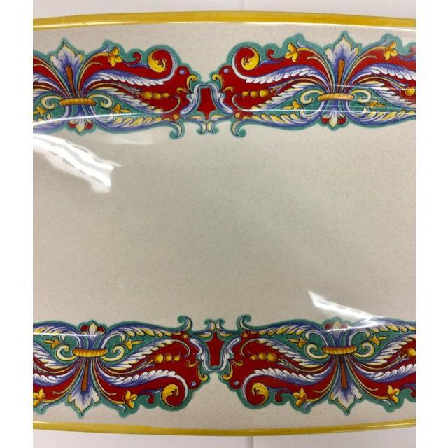 Folk Art Vintage Italian Ceramica Nova Deruta Hand Painted Platter For Sale - Image 3 of 10