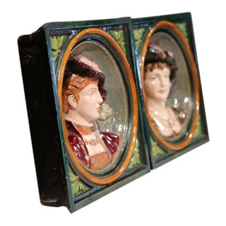 French Hand-Painted Barbotines Plaques - A Pair For Sale