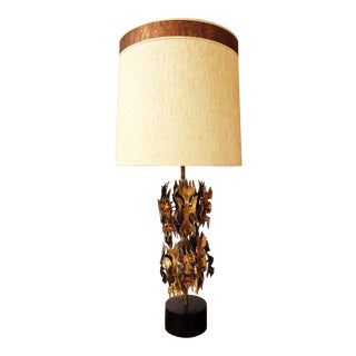 Vintage Harry Balmer Mid Century Modern Brutalist Table Lamp with Original Shade