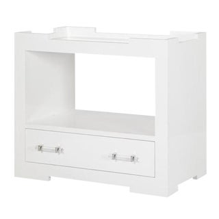 "Worlds Away ""Monica"" White Lacquer Side Table"
