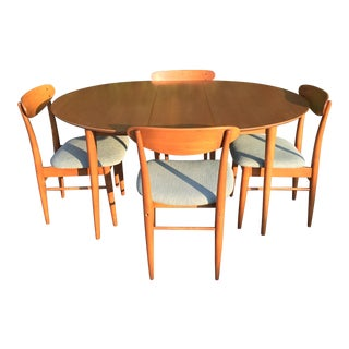 Mid Century Dining Set With Four Chairs W/ One Extension For Sale