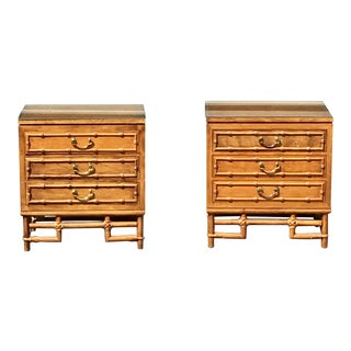 Ficks Reed Faux Bamboo Nightstands-A Pair - Solid Hardwood Construction For Sale