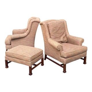 Hickory Chair James River Marlborough Leg Lounge Chairs & Ottoman - Set of 3 For Sale