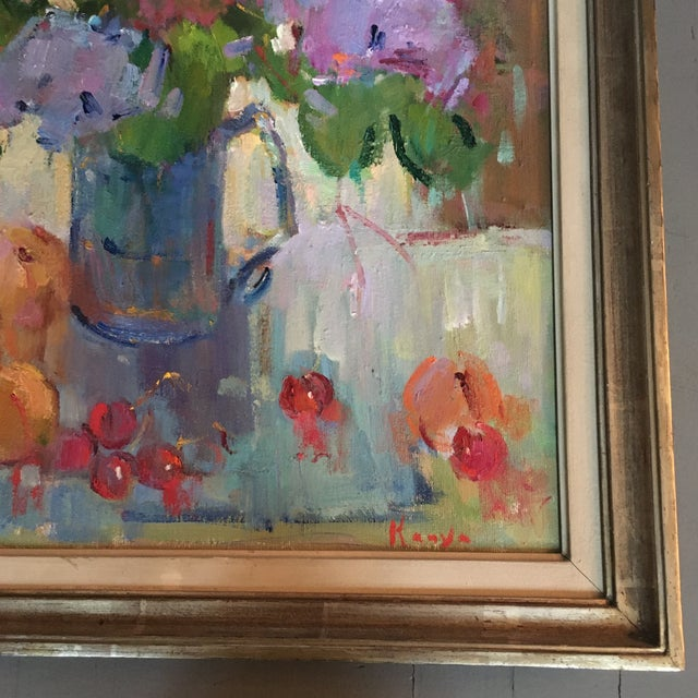 """Canvas """"Lilacs in a Blue Jug"""" Painting by Kanya Bugreyev For Sale - Image 7 of 11"""