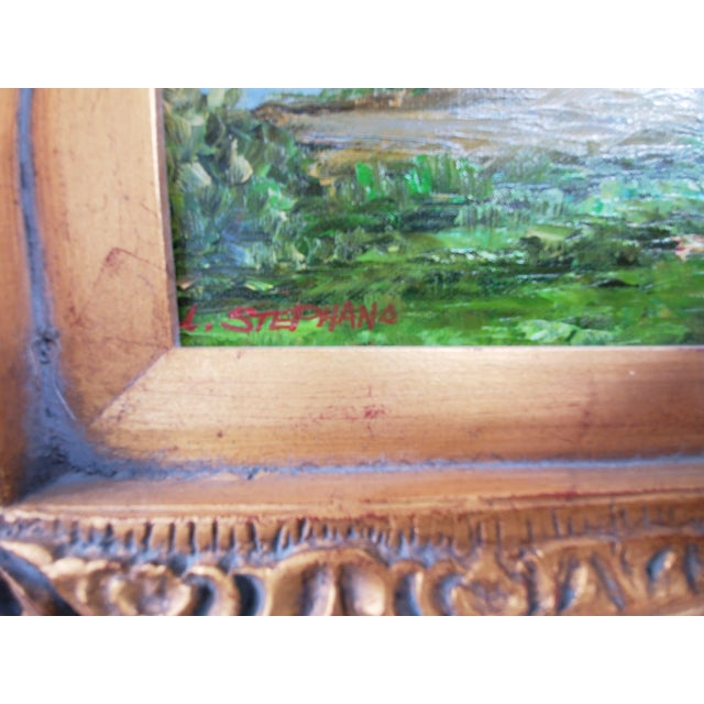 Traditional Vintage Mid-Century L. Stephano Oil on Canvas Landscape Painting For Sale - Image 3 of 7