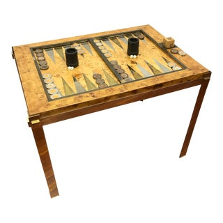 Italian Tomasso Barbi Burlwood Backgammon Game Table