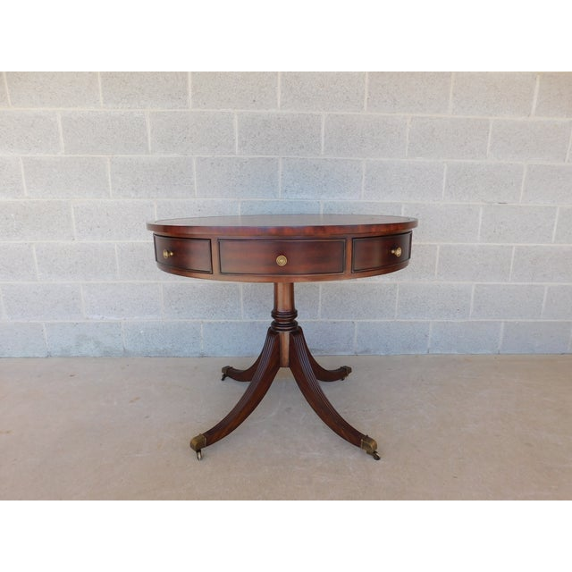 """Ethan Allen Mahogany Tooled Leather Top Rent Table 35.5""""w For Sale In Philadelphia - Image 6 of 10"""
