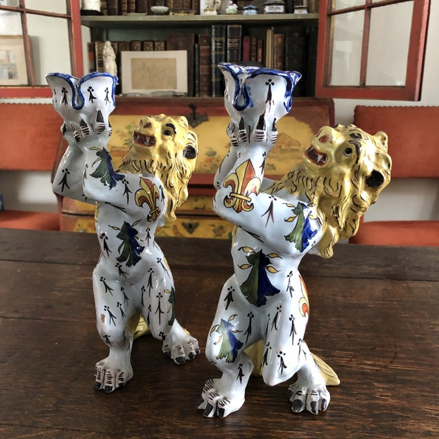 Mid 19th Century French Victorian Quimper Faience Ceramic Heraldic Lion Candlesticks - a Pair For Sale - Image 13 of 13