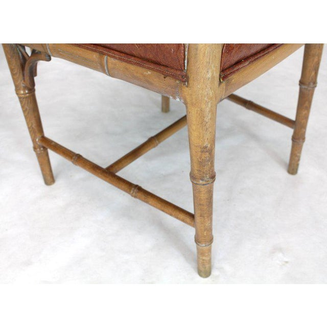 Mid-Century Modern Set of Four Carved Faux Bamboo Dining Chairs For Sale - Image 3 of 9