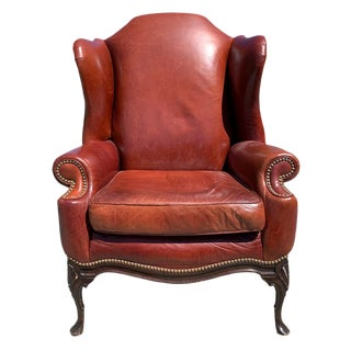 1940s Vintage Leather Wingback Chair For Sale