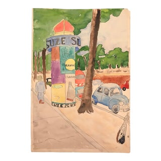 1963 Vintage Phyllis Myrick French Street Scene Watercolor Painting For Sale