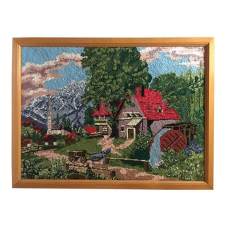 Vintage Pastoral Scene With Mill Framed Needlepoint For Sale