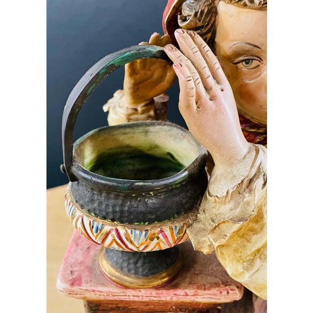 Italian 1960's Vintage Italian Porcelain Pensive Farmer Girl Sculpture or Statue For Sale - Image 3 of 12