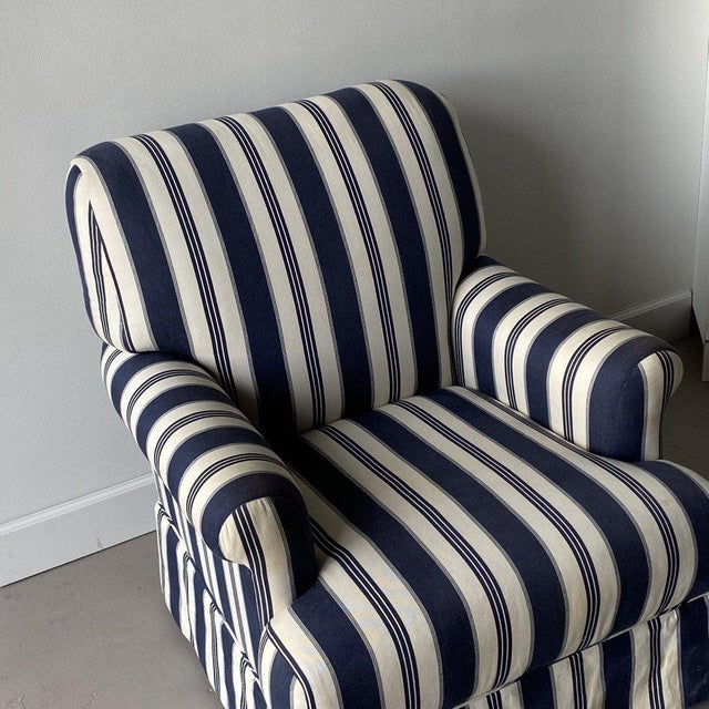 Traditional Bridgewater Striped Upholstery Club Chairs - A Pair For Sale - Image 3 of 7