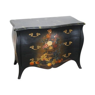 Maitland Smith Louis XV Style Hand Painted Bombe Chest of Drawers