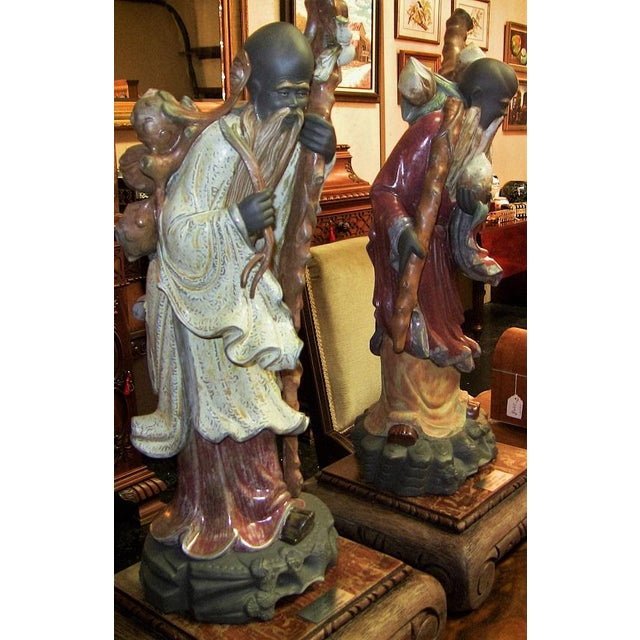 Lladro Retired Chinese Farmer Figurines - Very Rare Pair For Sale - Image 9 of 12