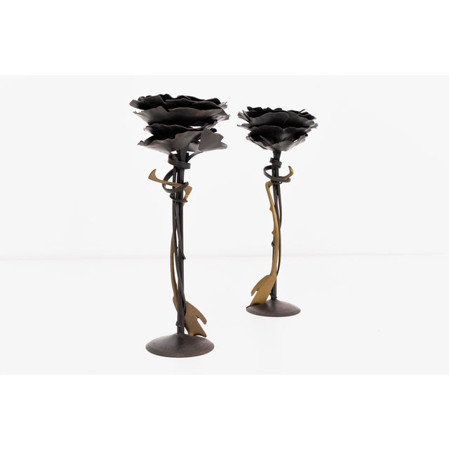 Pair of Albert Paley Blossom Candle Holders - Image 2 of 8