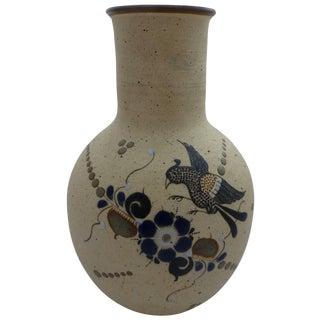 Vintage Bird & Floral Motif Mexican Pottery Vase For Sale
