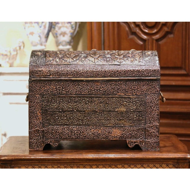 18th Century Spanish Gothic Repousse Silver and Gilt Copper Bombe Treasure Chest For Sale - Image 11 of 13
