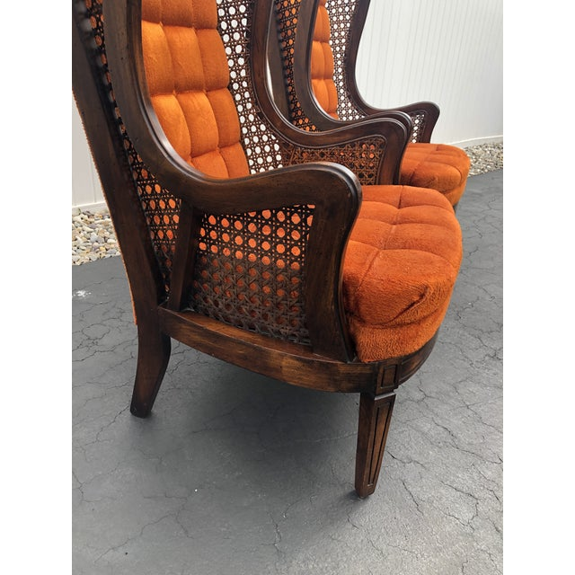 Hollywood Regency 1970s Hollywood Regency Orange Velvet Canes Wingback Chairs - a Pair For Sale - Image 3 of 10