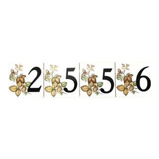 Autumnal Number Tiles, Set of 4 For Sale