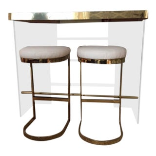 1970's Vintage Lucite and Brass Bar and Barstools- 3 Pieces For Sale