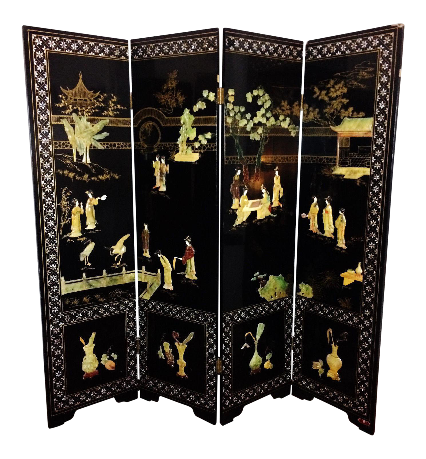 Vintage Chinese Carved Stone Jade Lacquer 4 Panel Dressing Screen