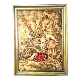 Belgium Aubusson Style Mid-Century Framed Tapestry For Sale