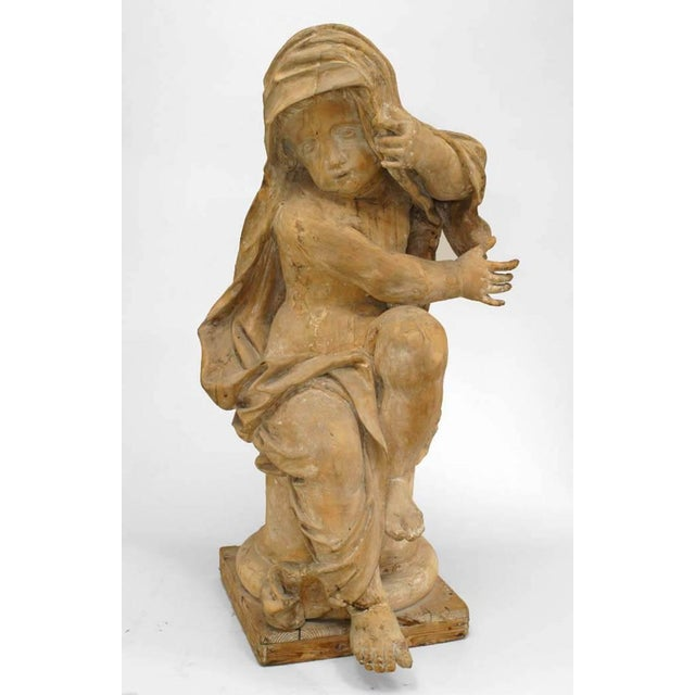 Wood 18th Century French Louis XVI Style Stripped Wood Life Size Putti - Set of 4 For Sale - Image 7 of 12