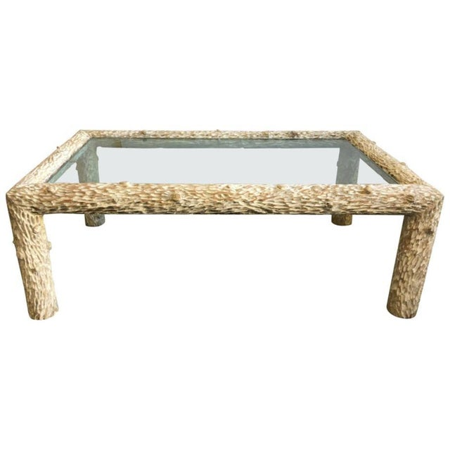 Wood Organic Carved Wood and Glass Top Coffee Table For Sale - Image 7 of 7