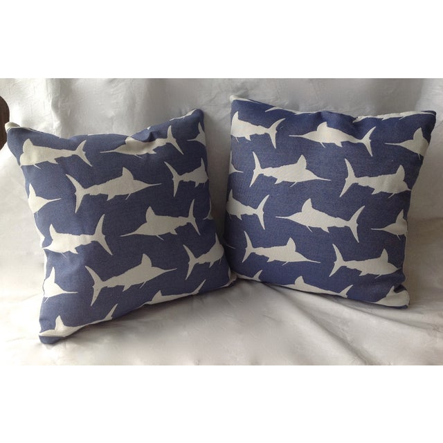 Marlin Indoor/Outdoor Pillows - A Pair For Sale - Image 4 of 8