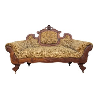 Vintage Velvet Animal Print Carved Loveseat For Sale