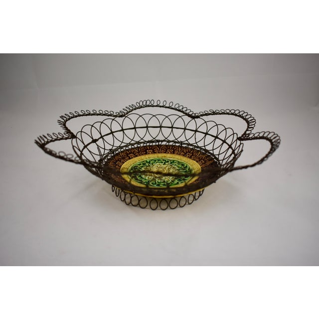 Rustic German Majolica & Looped Wire Basket For Sale - Image 3 of 11
